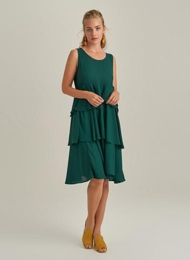 NGSTYLE Volanlı Katlı Elbise Yeşil